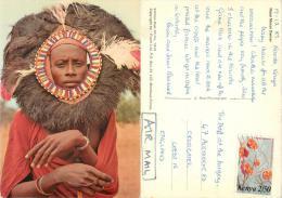 Masai Moran Dancer, Kenya Postcard Posted 1983 Stamp - Kenya