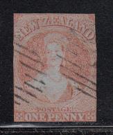New Zealand Used Scott #4 1p Victoria, Orange Red On Blue Paper - Oblitérés
