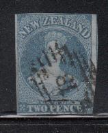 New Zealand Used Scott #5 2p Victoria, Blue On Blue Paper - Oblitérés