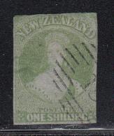 New Zealand Used Scott #6 1sh Victoria, Green On Blue Paper - Oblitérés