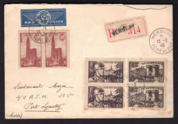 Lettre Avion Pour Le MAROC / HERBLAY 12.02.1940 / Aff. Paire Cathédrale Strasbourg - Verdun - Pour Nos Soldats - Marcofilie (Brieven)