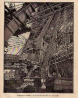 Belle Gravure 1900 PARIS Tour Eiffel Chemin Des Ascenseurs - Vieux Papiers