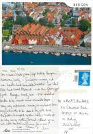 Bergen Aerial, Norway Postcard Posted 2011 Stamp - Norway