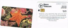 ISLE OF MAN - MANX TELECOM CHIP -MARINE LIFE: RED CUSHION STARFISH (PORANIA PULVILLUS) - (USED) CODE IOM46 - RIF. 7784 - Isola Di Man