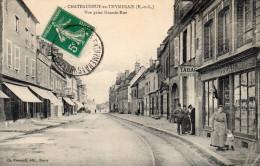 Cpa CHATEAUNEUF EN THYMERAIS, La Grande Rue, Commerces, Rails,  ...(35.43) - Châteauneuf