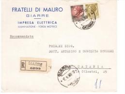 STORIA POSTALE REPUBBLICA -LETTERA PUBBLICITARIA  GIARRE 130+50£ SIRACUSANA  (AG122) - 6. 1946-.. Repubblica