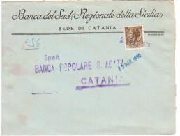 """STORIA POSTALE REPUBBLICA -LETTERA PUBBLICITARIA  CATANIA  """"BANCA DEL SUD"""" (AG109) - 6. 1946-.. Repubblica"""