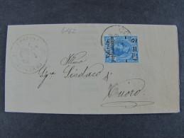 """ITALIA Regno-1890- """"Pacchi Soprastampati"""" C. 2 Su 20 CORTONA>TUORO (descrizione) - 1878-00 Umberto I"""