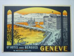 """Petit Carton  PUB  """" Grand  HÔTEL  Des  BERGUES """" - GE Genève"""