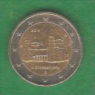 2 € ALLEMAGNE NIEDERSACHSEN 2014 D Circulée (PRIX FIXE) (BK1) - Germany