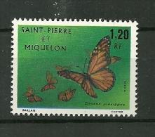 ST.PIERRE Et MIQUELON 1975  N° 442    Papillon (Danaus Plexippus) NEUF S/s  Gomme - Unused Stamps