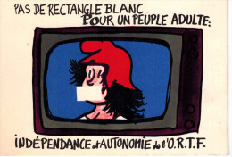CPSM MAI 1968 PAS DE RECTANGLE BLANC POUR UN PEUPLE ADULTE - Jean EFFEL (Intersyndicale ORTF) - Effel