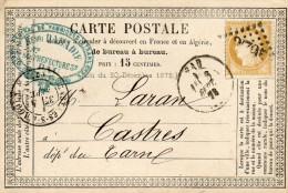 - Cérès 15c. Bistre 1873 Sur Carte De PAU à CASTRES - 196 - 1871-1875 Cérès