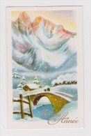 Mignonnette  Bonne Année  Paysage , Pont  Sous La Neige ( Glacée ) - Anno Nuovo