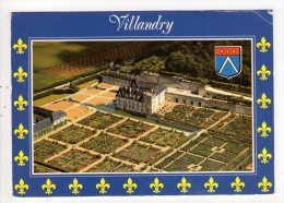 CP 10*15 CM/MM595/VILLANDRY LE CHATEAU ET LES JARDINS   VUE AERIENNE  1991 - France