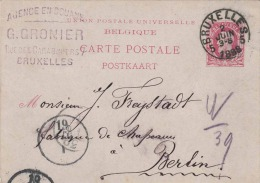 BELGIEN 1888 - 10 C Ganzsache Auf Postkarte Gelaufen 1988 Von Bruxelles Nach Berlin - 1884-1891 Leopold II.