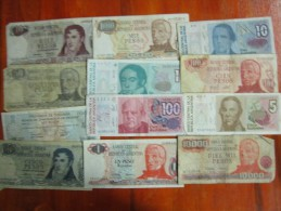 BILLETES REPUBLICA ARGENTINA 12 DIFERENTES LOTE SOLD AS IS REGULAR ESTADO - Argentina