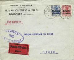 OC 3 Et 4 Sur Lettre Par Exprès De SOIGNIES Vers Liège - Censure De Bruxelles - Guerra '14-'18
