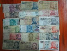 BILLETES REPUBLICA ARGENTINA 18 DIFERENTES LOTE SOLD AS IS REGULAR ESTADO DIFFERENT - Argentina