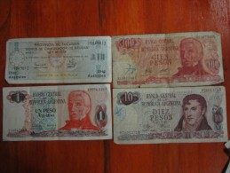 BILLETES REPUBLICA ARGENTINA 4 DIFERENTES LOTE SOLD AS IS REGULAR ESTADO DIFFERENT - Argentina