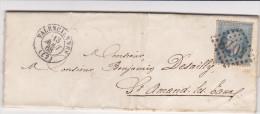 Valenciennes 1868 - Lettre + Gros Chiffres 4078 - 1849-1876: Periodo Classico