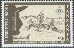Scouts Experimental Camp 1907, Boat / Canoe, Fishing Rod, Masonic Compass, Freemasonry, R Baden Powell, MNH Tanzania - Franc-Maçonnerie
