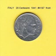 ITALY   20  CENTESIMI  1941  (KM # 75b) - 1861-1946 : Kingdom