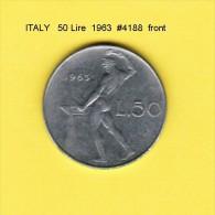ITALY   50  LIRE  1963  (KM # 95) - 1946-… : Republic
