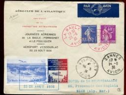 70820 L - Enveloppe JOURNEES AERIENNES LA BAULE PORNICHET&LE POULIGUEN 23 8 1936 Avec Vol - Poste Aérienne