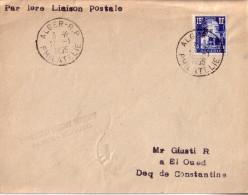 Enveloppe  ALGERIE    1er  Vol  Postal      ALGER - EL OUED       ALGER    1955 - Covers & Documents