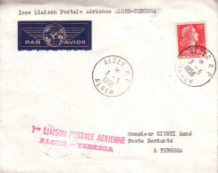 Enveloppe  ALGERIE    1er  Vol  Postal      ALGER - TEBESSA       ALGER    1956 - Algérie (1924-1962)