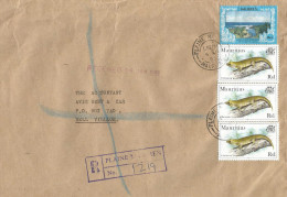Mauritius Maurice 1999 Paline Magnien Pheisuma Gecko Reptile Domestic Registered Cover - Mauritius (1968-...)