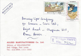 Mauritius Maurice 1998 Port Louis Western Boat Making Rock Domestic Registered Cover - Mauritius (1968-...)