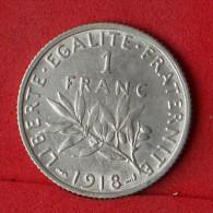FRANCE  1  FRANCS  1918  SILVER COIN KM# 926  -    (Nº07080) - Frankreich