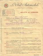 """AUDE - NARBONNE - LE """" SUD AUTOMOBILE """" - ACHAT AUTO MAXWELL TORPEDO , COMTE DE FORTON - BON DE COMMANDE + RECU - 1917 - Cars"""