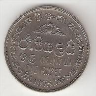 Ceylon 1 Rupee  1975  Km 136.1   Unc !!! - Sri Lanka