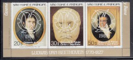 Sao Tome Et Principe MNH Scott #617 Strip Of 3 Beethoven Overprinted In White Royal Wedding Charles And Diana - Sao Tome Et Principe