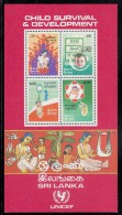 Sri Lanka MNH Scott #764a Souvenir Sheet Of 4 Child Survival And Development UNICEF - Sri Lanka (Ceylan) (1948-...)