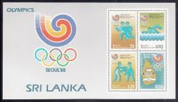 Sri Lanka MNH Scott #885a Souvenir Sheet Of 4 Running, Swimming, Boxing, Handshake - 1988 Summer Olympics Seoul - Sri Lanka (Ceylan) (1948-...)