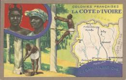 """CPA Publicitaire """" Edition Spéciale Des Produits Du Lion Noir """" - COLONIES FRANCAISES - LA COTE D'IVOIRE. - Landkarten"""