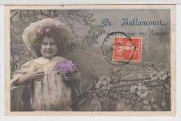 91 - DE BALLANCOURT JE VOUS ENVOIE CES FLEURS - Fillette - Chapeau - Ballancourt Sur Essonne