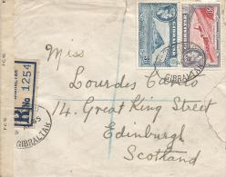 Gibraltar 4 April 1945 Registered Censorship Label Type T16 OBE A/6067 Registered Cover - Gibraltar