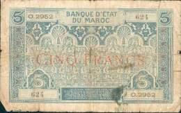 T MAROC MOROCCO MAROKKO BILLET 5F NON DATE (1931) N° O.2952 ETAT MEDIOCRE - Marruecos