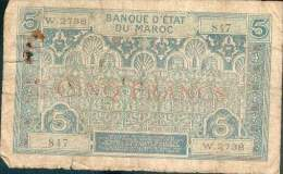 T MAROC MOROCCO MAROKKO BILLET 5F NON DATE (1931) N° W.2738 ETAT MEDIOCRE - Marruecos
