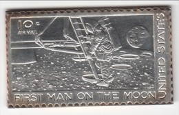 **** ETATS-UNIS - USA - UNITED-STATES - 10 CENTS 1969 FIRST MAN ON THE MOON - TIMBRE ARGENT - SILVER STAMP **** - Etats-Unis