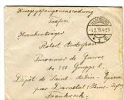 14 18-courrier De HAMBURG Allemagne Pour P G Allemand Au Dépôt De Saint-Aubin-Epinay 76-Cachet - 1914-18