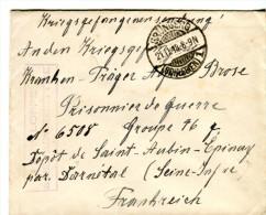 14 18-courrier De GRÜNBERG Allemagne Pour P G Allemand Au Dépôt De Saint-Aubin-Epinay 76-Cachet - 1914-18