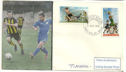 Le Football En Nouvelle-Zélande  (série Football / Baskett Ball émis En 1970) Sur FDC  Adressée à Timaru (île Du Sud) - FDC