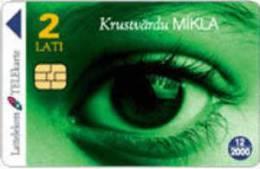 Latvia  -  Crossword Puzzle  Green  Eyes Used Phonecard - Latvia