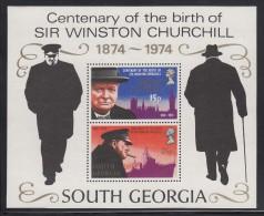 South Georgia MNH Scott #40a Souvenir Sheet Of 2 Sir Winston Churchill - Géorgie Du Sud